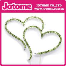 Rhinestone Silver Crystal Covered Monogram Heart shape Initial Wedding Cake Topper