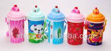 3D cartoon school children water drinking water bottle with straw