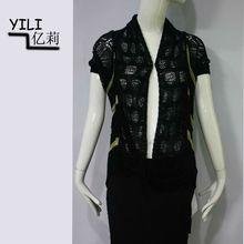 ladies black fashion knitted crochet top