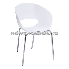 PP shell chrome steel base semicircle style dining chairs