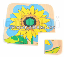 Wooden Puzzle, Sunflower, Education cards