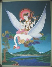 Tibetan Thangka - Beautiful Saraswati High Quality Thangka Art Tibetan Nepal painting