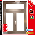 Aluminum double casement window with 1 fixed section, Akzo powder coating, China top hardware or German hardware