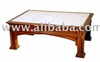 Gothic Style Coffee Table with inserted Marble top
