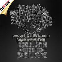 Classic afro girl rhinestone hotfix heat transfer designs