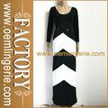 preta e branca listrada de manga comprida vestido chevron