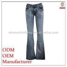 Hot sale ladies/women fashion design top stitch embroidered denim pants