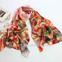 colorful pure silk long shawl