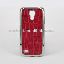 Alligator Pattern Leather Case For Samsung Galaxy S4 Mini,Electroplating Silver Edge Phone Cover Case For S4 Mini Samsung I9190