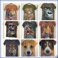 Venta caliente más nuevo diseño 3d t- shirt venta al por mayor de impresión d tres de los animales