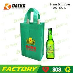 Fancy Reusable 2 Non woven Wine Bottle Tote Bag DK-TJ017