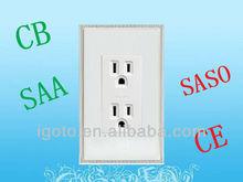 2 gang 3 pin american socket outlet 110V