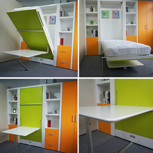 vertical wall solid wall bed /wall bed/folding bed with dining table
