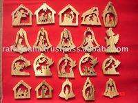 Handmade Olive Wood Religious Christmas Decorations