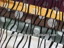 100%polyester stripe flocking with sliver velvet fabric