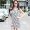 Yigelila 2015 dama de moda del punto de polca corto vestido de 6394