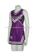 Custom two piece style purple colour cheerleading uniform