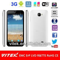 Quad Core MTK6589 8.0MP Camera Android 4.0 Dual Sim 5.3 inch 3G Smart phone