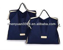 Fashion cheap nylon handbag leather hand bag for women