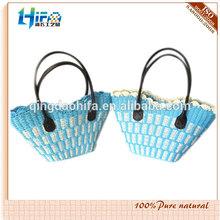 Moda Natural de papel de paja tejida cesta de cuero con mango