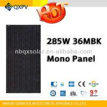 285w black monocrystalline solar panel pv module with TUV IEC CE UL ISO MCS