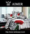 100% algodão sateen 3d reativa tecido estampado grande rosa design moderno para a folha de cama/consolador/colcha de verão/folha cabida