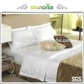 2014 hilton hotel con raya bleach color blanco 100% de algodón ropa de cama del hotel conjunto