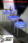 Hexagon Stainless Steel Dinning/Banquet/Tea-Break/Bar Table with LED Lamp