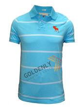 Men's fashion Ocean blue yarn dye polo shirt with white stripe