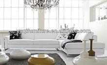 Classic italian furniture Black and white L Shape Leather Corner Sofa chesterfield sofa replica 9108-26