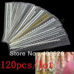 2013 New fashion Acrylic Mix Lace Stylish Decal For Nail Art Sticker Tips Decoration 8620