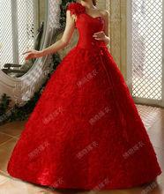 sweet princess red wedding dress inclined shoulder flowers wedding dress