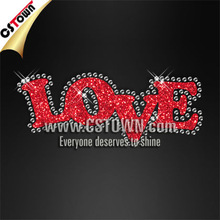 Shinning rhinestone and glitter iron on red letters of love design motifs