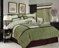7Pcs Queen Patchwork Micro Sage Suede Comforter Set