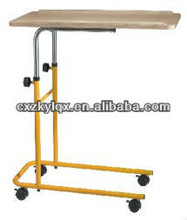 Hospital Height adjustable wood Over bed table