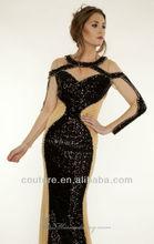 Structured Sequinned Gown Keyhole Halter long sleeve Slim Floor-Length ebay evening dresses EDM-0068