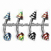 wholesale 316L Steel Two Cone Stripe Eyebrow Ring Body Piercing Jewelry