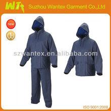 Hot Deals 0.20mm Navy waterproof PVC/Polyester Rain suit