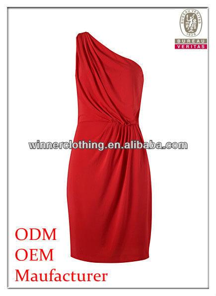Trendy Design Front Pleated One Shoulder Elegant Red Dress