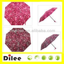 nice red rain triple fold cheap mini umbrella