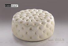 Casa Italy Leather Stool-25, Leather Stool, Ottoman with Swarovski Crystal