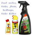 Os ácaros da poeira, os carrapatos, pulgas, percevejos, carrapato assassino