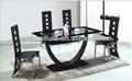 elegante mesa de jantar de suporte de metal e tampo de vidro
