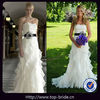 W0715 Custom Made Chiffon Ruffle Black Sash Wedding Dress Romantic Angel