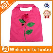Fashion rose flower foldable promotional product reusable bag