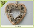 Naturales decoraciones de madera del corazón de abedul navidad adornos