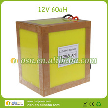 LiFePO4 12V 60AH battery pack for electric tools, motorcycle, scooter, ebikes, pedals,e-golf car, etc.