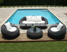 Patio furniture rattan sofa with aluminum frame