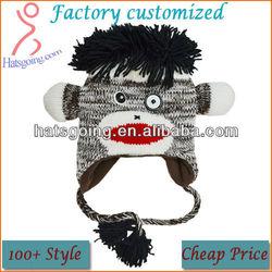 Custom Animal Pattern Sock Monkey Knitted Hats