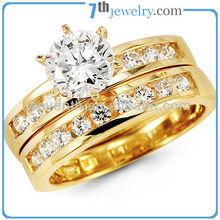 Fashion Wedding Ring Set Design with Prong Setting18K Gold Plated CZ Diamond